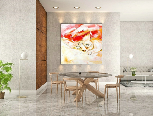 Abstract Canvas Art - Large Painting on Canvas, Contemporary Wall Art, Original Oversize Painting LaS087,apartment interior design