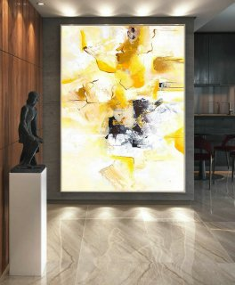 Original Abstract Canvas Art,Abstract Painting,Oil Canvas Art,Large Abstract Art,Canvas Wall Art,Fine Art Painting,Yellow Black White LaS076,uniqlo moma