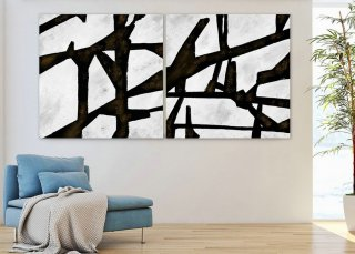 Set of 2,Extra Large Minimal Abstract Art,Black and White,Large Abstract Paintings on Canvas,Abstract Paintings, UNSTRETCHED Pa0012_paS013,natural interior design
