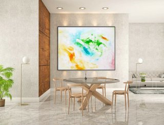 Abstract Canvas Art - Large Painting on Canvas, Contemporary Wall Art, Original Oversize Painting LaS452,studio interior