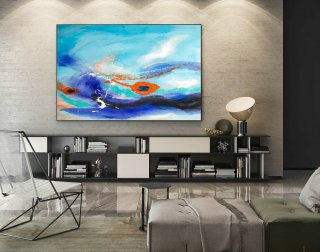 Contemporary Wall Art - Abstract Painting on Canvas, Original Oversize Painting, Extra Large Wall Art LaS281,office refurbishment companies