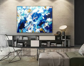 Modern Canvas Oil Paintings,Large Oil Painting,Textured Wall Art,Textured Paintings,Large Colorful Landscape Abstract,Original Art LaS006,find a decorator