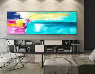 Abstract Canvas Art - Large Painting on Canvas, Contemporary Wall Art, Original Oversize Painting XaS166,waterleaf interiors