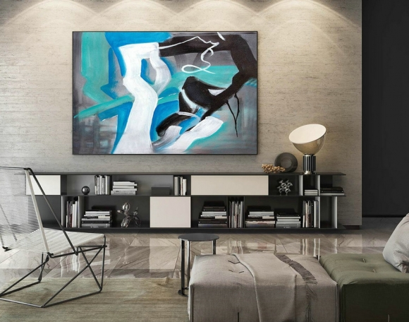 Abstract Canvas Art - Large Painting on Canvas, Contemporary Wall Art, Original Oversize Painting LaS135,danish interior