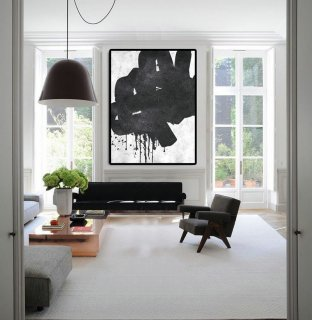 Extra Large Abstract Painting On Canvas, Textured Painting Canvas Art, Black,modern watercolor artists