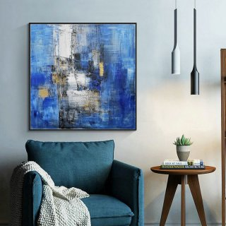 Large Blue Abstract Canvas Painting,Minimalist Abstract Painting,White Abstract Painting,Canvas Abstract Painting,Dining Room Art Painting,beautiful abstract paintings