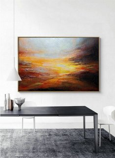 Sky Abstract Painting,Original Natural Landscape Painting,Large Wall Art Ocean Acrylic Painting,Heavy Rain Art,Scenic Extreme Weather Decor,interior design group