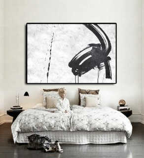 Handmade Extra Large Acrylic Painting On Canvas, Black White Painting Abstract Art, Horizontal Modern Art.,sfmoma artworks