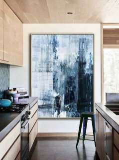 Original Deep Blue Abstract Art,Minimalist Abstract Painting,Large Abstract Oil Painting,Living Room Art Painting,Large Wall Canvas Painting,abstract fish art