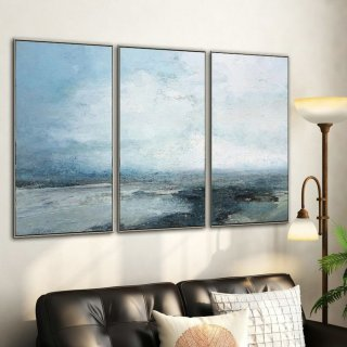 Large Sky And Ocean Painting,Original Sky And Sea Canvas Painting,Marine Landscape Painting,Sky Landscape Painting,Large Wall Sea Painting,large canvas frame