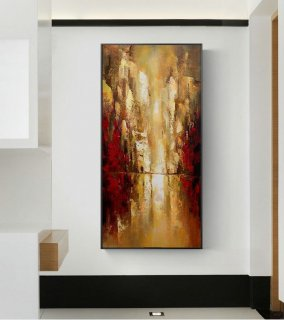 Cityscape Art Painting,Original Urban Art Oil Painting,Large Wall Art Oil Painting,Golden Wall Art Oil Painting,Golden Oil Painting Artwork,abstract lion art