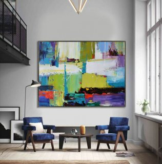 Handmade Extra Large Contemporary Painting, Huge Abstract Canvas Art, Original Artwork by Leo. Hand paint. white, blue, purple, green.,classic living room design