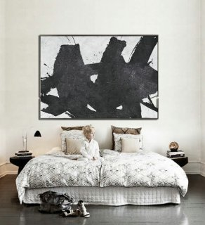 Hand Painted Extra Large Abstract Painting, Horizontal Acrylic Painting Large Wall Art. Black And White Minimalist Painting.,framed abstract painting