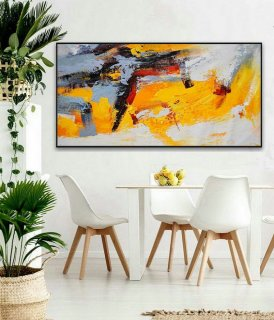 Modern Contemporary Palette knife Art Work Long Slim Large Panoramic Horizontal Thick Texture Acrylic Abstract Wall Art Painting,abstract ink art