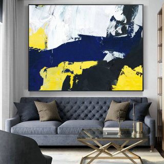 Original Abstract Art Canvas Painting,Large Blue Abstract Painting, Black White Abstract Painting, Yellow Abstract Painting, Great wall art,oriental interior design