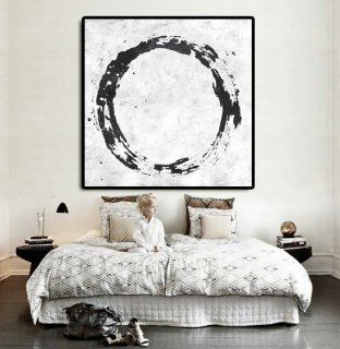 Original Abstract Painting Extra Large Canvas Art, Handmade Black White Circle Acrylic MinimaIlst Painting.,modern russian artists