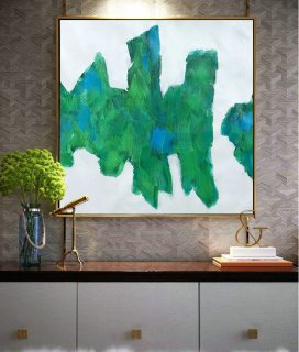 Large Contemporary Art On Canvas, Hand Paint Abstract Painting by Biao. Green, blue, black.,modern glass art