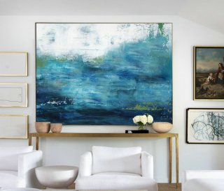 Large Ocean Canvas Oil Painting, Large Wall Sea Painting, Original Turquoise Sea And Blue Sky Landscape Painting, Sky Landscape Oil Painting,home decor interior design