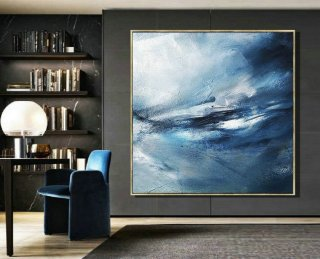 Original Sea Abstract Art Painting,Abstract Painting on Canvas,Blue Abstract OilPainting,Large Abstract Art,Large Ocean Canvas Painting,nina campbell interiors