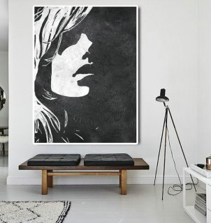 Extra Large Abstract Painting On Canvas, Textured Painting Canvas Art, Black And White Figure Art Handmade.,the moma museum