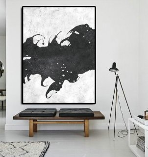 Extra Large Painting On Canvas, Textured Painting Canvas Art, Black And White Original Art Handmade.,duplex interior design