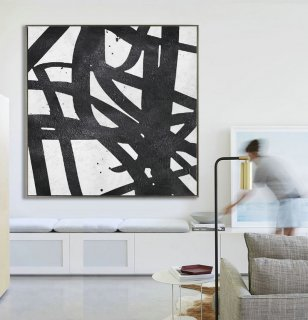 Abstract Painting Extra Large Canvas Art, Handmade Black White Geometric Art, Acrylic MinimaIlist Painting.,kitchen interior decoration