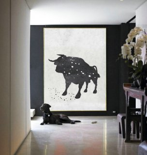 Black And white Acrylic Painting Minimalist Art, Large Canvas Art. Modern Art Bull Art.,piet mondrian abstract art