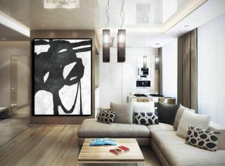 Extra Large Painting On Canvas, Textured Painting Canvas Art, Black And White Original Art Handmade.,japanese interior decoration