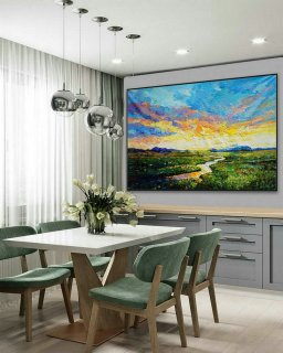 Modern Panoramic Landscape Contemporary Abstract wall Art Countryside Field Sunset Sunrise Palette Knife Thick Oil Painting on Canvas,hiring an interior designer on a budget