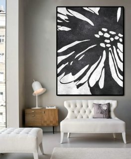 Huge Abstract Painting On Canvas, Vertical Canvas Painting, Extra Large Wall Art, Abstract Art Flower, Black white.,orange abstract painting