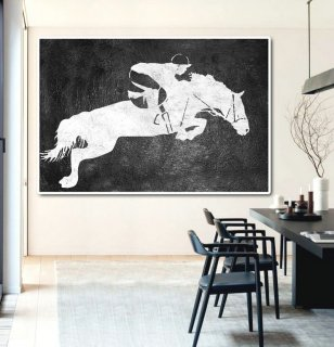 Hand Painted Extra Large Abstract Painting, Horizontal Acrylic Painting Large Wall Art. Black And White Horse oil Painting. Polo Art.,gerhard richter abstract