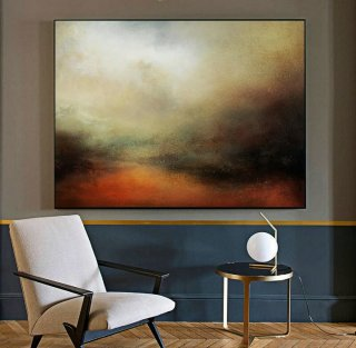 Large Sky Landscape Painting,Large Wall Sky Abstract Painting,Convergent Sea Landscape Painting,Minimalist Abstract Painting Of The Sky,john beckley artist
