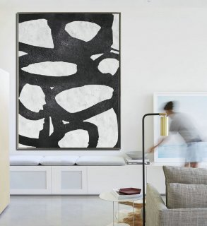 Extra Large Acrylic Painting On Canvas, Minimalist Painting Canvas Art, Black And White Geometrical Painting, HAND PAINTED Original Art.,tate art museum