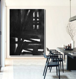 Extra Large Acrylic Painting On Canvas, Minimalist Painting Canvas Art, Black And White Geometrical Painting, HAND PAINTED Original Art.,high quality large canvas prints