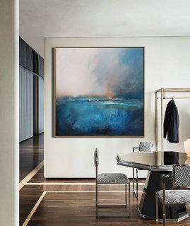 Large Original Sea Level Blue Oil Painting,Large Wall Art Blue Abstract Painting,Sky Landscape Oil painting,Large Ocean Canvas Oil Painting,large colourful canvas