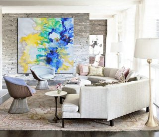 Large Hand-painted Contemporary Oil Painting on Canvas. Blue, Yellow, Original Art by Jackson,abstract metal art sculptures