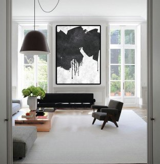 Extra Large Painting On Canvas, Textured Painting Canvas Art, Black And White Original Art Handmade.,abstract tulip paintings