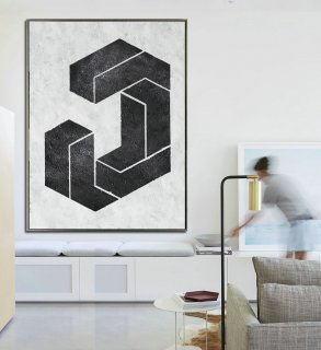 Extra Large Acrylic Painting On Canvas, Minimalist Painting Canvas Art, Black And White Geometrical Painting, HAND PAINTED Original Art.,abstract brush stroke art