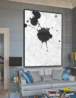 Extra Large Painting On Canvas, Textured Painting Canvas Art, Black And White Original Art Handmade.,orange abstract wall art