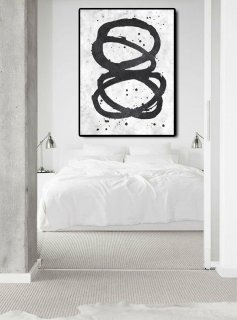 Extra Large Abstract Painting On Canvas, Textured Painting Canvas Art, Black And White Twist Circles, Original Art Handmade.,canadian abstract artists