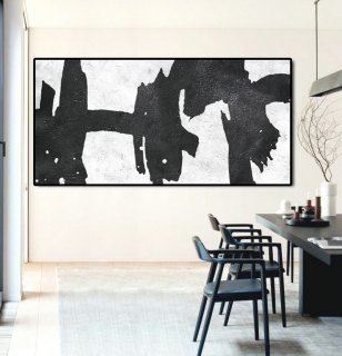 "Extra Large 72"" Horizontal Acrylic Painting On Canvas, Minimalist Painting Canvas Art, Black And White, Original Art.,abstract landscape paintings famous artists"