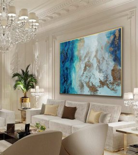Large Modern Gold Fluid Art Hand Painted Acrylic Abstract Wall Art Painting On Canvas for Dining Living Room Office Decor Art Work,abstract beach wall art