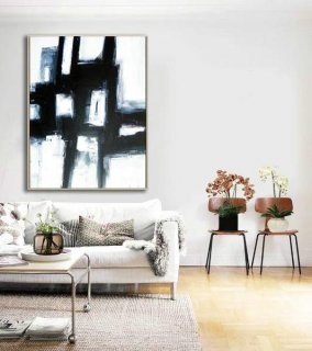 Abstract Decor Painting, Large Decor Art, Black and white art, Abstract Painting, Original Artwork, Large Contemporary, Black white fine art,plywood wall interior design