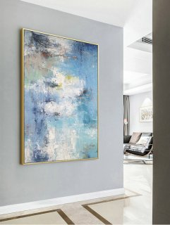Large Texture Abstract Painting, Abstract Painting, Blue White Abstract Art, Acrylic Abstract Paintings On Canvas, Large Living Room Art,etsy abstract wall art