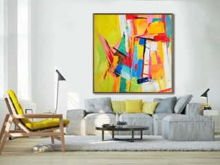 Large Palette Knife Painting On Canvas, Abstract Art Decor. Large Contemporary Painting by Leo, blue, green, yellow, red.,x large wall art