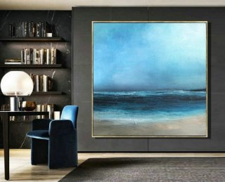 Large Original Sea Level Blue Oil Painting,Large Wall Art Light Blue Sky Oil Painting,Sky Landscape painting,Large Ocean Canvas Oil Painting,modern art prints for sale