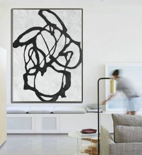 Large Abstract Art, Hanmade Painting Minimalist Art, Abstract Painting On Canvas, Geometric Art. Black White.,john beckley abstract art