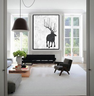 Extra Large Abstract Painting On Canvas, Textured Painting Canvas Art, Black And White Reindeer Original Art Handmade.,abstract human painting