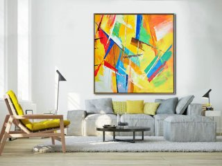 Large Palette Knife Painting On Canvas, Abstract Art. Large Contemporary Painting, blue, green, blue, red, yellow. By Leo,linear abstract art