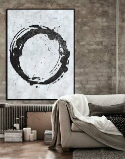 Large Abstract Art, Handmade Painting Minimalist Art, Abstract Painting On Canvas, Modern Art Circle. Black White.,extra large canvas prints from photos